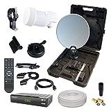 HB-DIGITAL HD Camping Sat Anlage im Koffer 40cm Schüssel Anthrazit + Digitaler SAT-RECEIVER + Opticum LNB 0,1 10m Kabel für HDTV UHD 3D 4K geeignet