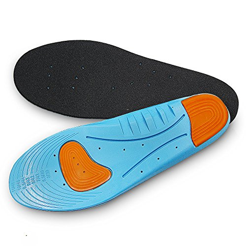 Aodoor Athletic Shock Absorbing Insoles, Hiking Shoe Insoles, Athletic Massaging Silicon Gel insoles for Sore Feet Relief, Insoles for Plantar Fasciitis L 30.5cm(39-46 EU)