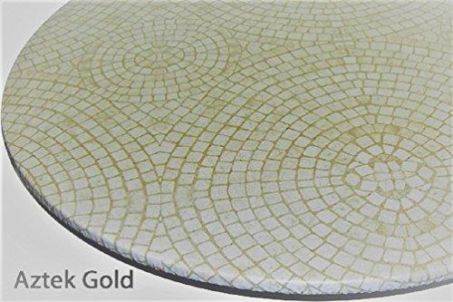 Tischdecke rund Bistro 61cm zu 83,8cm Elastic Edge Spannbettlaken Vinyl Tisch Cover Circle Mosaik Muster Gold - Kindersicher Edge