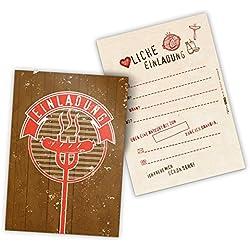 12 x itenga Einladungskarten BBQ rustikal rot braun Grillparty Geburtstag Vintage Holz DIN A6 hoch