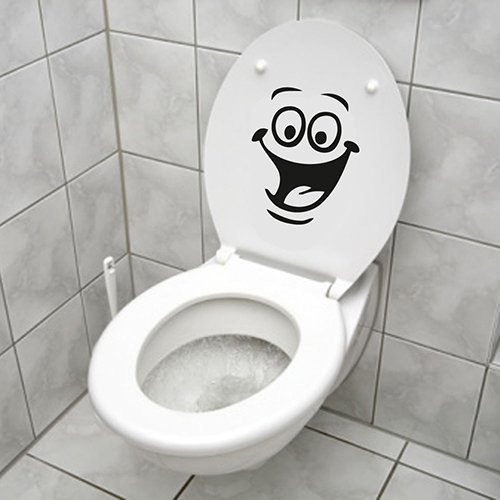 Funny Smiley cara para WC baño cocina pared adhesivo habitación Art Decor, pvc, One Color, talla única