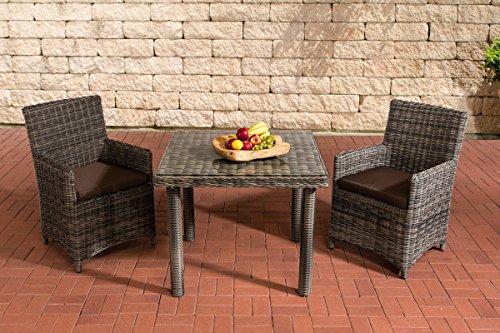 Gartenmöbel, Gartenmöbel-Set, Sitzgruppe Dorado K100, grau-meliert / terra-braun, Polyrattan-Aluminium-Gestell, Gartengarnitur, Sitzgarnitur.