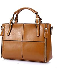 cce831bfc7b45 zahuihuiM Damen Schwarz Elegante Braune Leder Große Handtasche Einfache  Mode Luxus Europäischen Stil Freizeit Schultertasche Shopper
