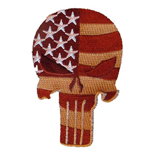 hotrodspirit - Patch Crane Punisher Flagge USA braun 9 x 6 cm - 6x9 Usa-flagge