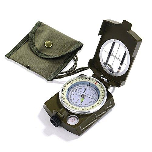 Kompass Militär Marschkompass Professioneller Taschenkompass mit Klinometer Tragschlaufe Tasche für Jagd Wandern und Aktivitäten im Freien -