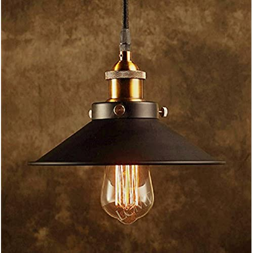 Modern black metal shade ceiling light with a bronze vintage lamp holder a unique industrial pendant light create the perfect atmosphere for bar