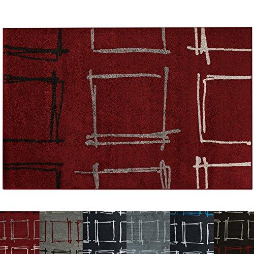 Design Teppich Square | moderner Wohnzimmerteppich mit Trend Karo Muster | in 2 Größen und vielen Farben für Wohnzimmer, Esszimmer, Schlafzimmer etc. | rot 160x220 cm