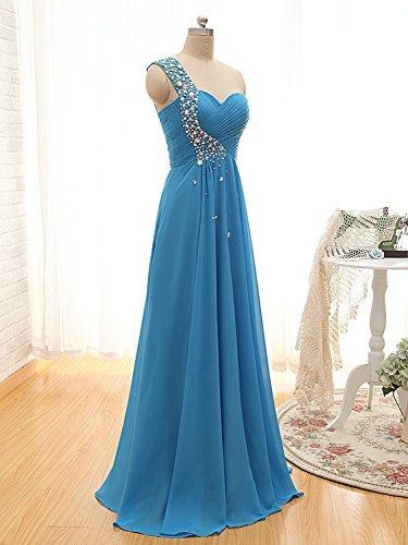 Micbridal® una spalla in abito da sera, vestito da ballo lungo vestito da damigella Green