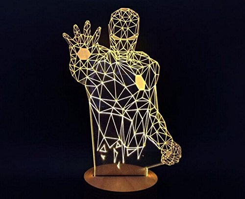 Image of SHENNOSI® 3D Glow LED Lamp - Art Sculpture Lights Up in Produces Unique Lighting Effects and 3D visualization Amazing Optical Illusion (Iron man)