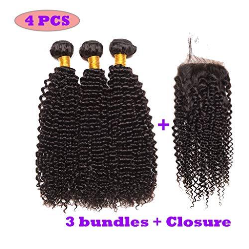 Brasilianische Männliche Kostüm - JEOSNDE Perücken for Frauen 8A brasilianische menschliche kleine lockige Haarverlängerung mit Schließungs-Schwarz-Klipp-Haar-Vorhang Wigs (Size : 20 20 22inch+18inch)