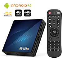 NinkBox Android TV Box de Version Android 9.0, 【4G+64G】 TV Box de Bluetooth 4.0, N1 Max RK3318 Quad-Core 64bit Cortex-A53, USB 3.0 Box Android TV LAN100M Wi-FI 2.4G/5G TV Box 4K Android TV