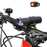 LED Fahrradbeleuchtung, BYBO Cree XM-L U3 LED 800 Lumen Fahrradlicht LED Wiederaufladbares Fahrradlampen Set Frontlicht & Rücklicht & USB Wiederaufladbar