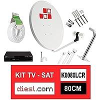 Diesl.com - Kit Parabólica 80cm + LNB + Soporte + 25 Metros de cable + Receptor Satélite + Tacos a pared + Conectores + 10x Bridas + 25 Grapas