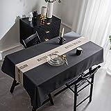 XUDOAI Nappe Enduite Rectangulaire Nappe en Lin Polyester Antifouling, Cuisine Anti-Poussière Multifonctionnelle Intérieure, Table à Manger, Nappe de Pique-Nique (Noir, 135 * 260cm)