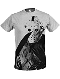 Elbenwald Venerdì T-shirt il 13 ° uomo Male Jason Voorhees film horror di grigio