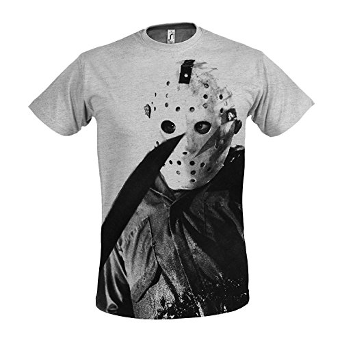 Elbenwald Friday The 13th Men's T-Shirt Evil Jason Voorhees To The Horror Film Of Gray