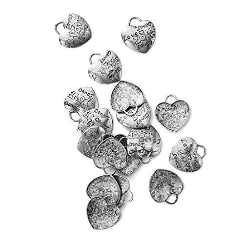 Obsede charms cuore in oro bianco forniture artigianali pendenti perline pendenti di fascini per i risultati dei monili che fanno accessorio 20pcs