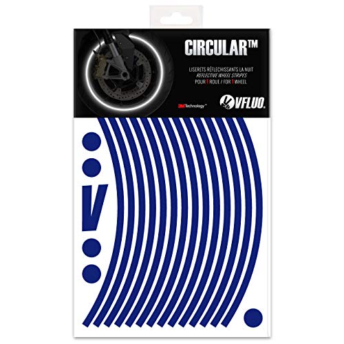 VFLUO CircularTM, Motorrad Retro reflektierende Felgenrandaufkleber Kit (1 Felge), 3M TechnologyTM, 7mm breit, Blau Nacht