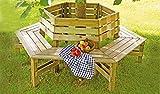 meingartenversand.de Garten-Bank/Baum-Bank - als runde einen Baumstamm umfassende Sitzbank - im Maß 230 cm Außendurchmesser aus imprägnierten Kiefern/Fichten-Holz