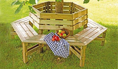 Garten-Bank / Baum-Bank - als runde einen Baumstamm umfassende Sitzbank - im Maß 230 cm Außendurchmesser aus imprägnierten Kiefern / Fichten-Holz