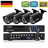 FLOUREON A628B Kit CCTV Vidéosurveillance ONVIF 8CH Enregistreur DVR 1080N AHD + 4 Caméras HD 2000TVL 960P 1/3'' CMOS 1.3MP Etanches pour l'Extérieur Vision Nocturne Détection de Mouvement Alerte par Mail Système Cloud Sauvegarde par USB P2P