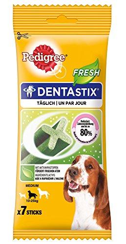 Pedigree DentaStix Fresh Hundesnack für mittelgroße Hunde (10-25kg), Zahnpflege-Snack mit Eukalyptusöl und Grüner Tee-Extrakt, 10 Packungen je 7 Stück (10 x 180 g) - 5