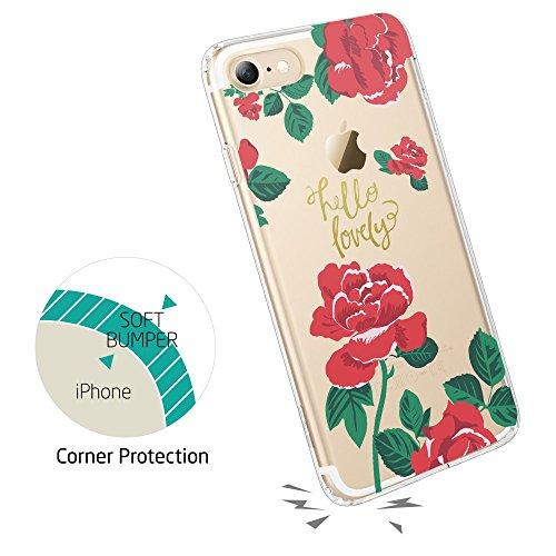 Coque iPhone 8, Coque iPhone 7 Fleur, ESR Coque Transparente Motif Nature Tropical Imprimé, Housse Etui de Protection Bumper en Silicone avec Dessin Floral Feuille Forêt Tropique [Anti Choc] [Anti Ray Rose Rouge