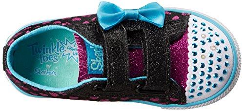 Skechers Shuffles Sweet Steps, Baskets mode fille noir/turquoise