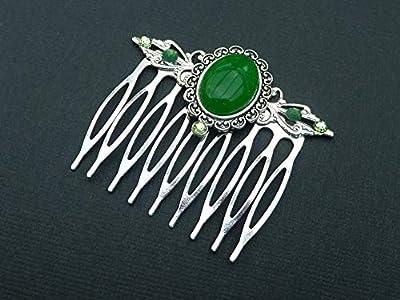 Peigne à pierres précieuses avec jade vert en argent