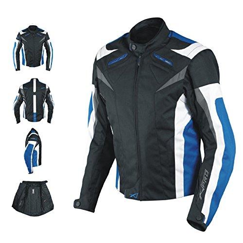 Giacca-Lady-Donna-Tessuto-Cordura-Moto-Protezione-Manica-Staccabile-Blu-L
