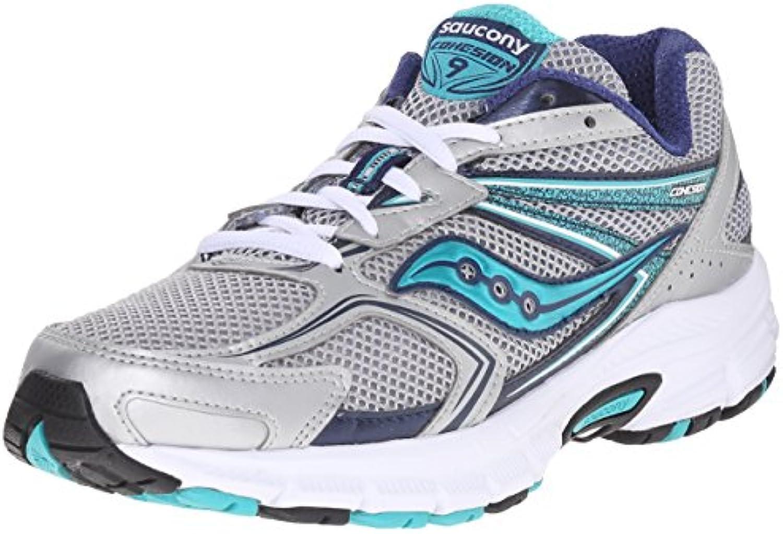 Saucony Grid Cohesion 9 Mujer Fibra sintética Zapato para Correr, plateado, 36