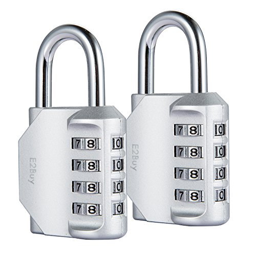 2 Stücke 4-Stelliges Zahlenschloss, E2BUY® Kombinationsschloss, Vorhängeschloss, Wetterfestes Metall & Plated Steel Combination Lock für Schule, Angestellter, Gym & Sports Locker, Case, Toolbox, Zaun, Hasp Cabinet & Storage - Silber Test