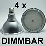 4 x DIMMBARE 18 Watt PAR 38 Retrofit LED Lampe, Fassung E27 - warmweiß 2700K - 1500 Lumen entspricht ca. 150 Watt Glühlampe - 120° Ausstrahlwinkel. Schutzklasse IP44 - für Innenbereiche und Außenleuchten geeignet. Gibt ein sehr angenehmes, warmweißes und flimmerfreies Licht wie eine PAR38 Glühlampe. Besolis PAR38WW-18D