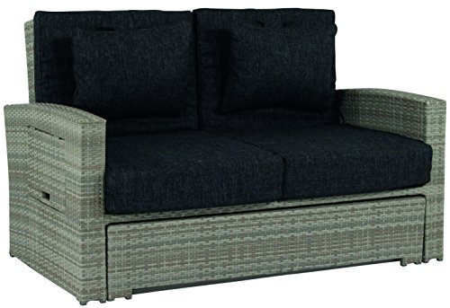 Schlichter Möbel Gartensofa Hampton 2-Sitzer ausziehbar Polyrattan (Hampton Möbel)