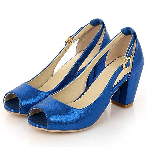 TAOFFEN Femmes Stylish Peep Toe Sandales Talon Bloc Boucle blue