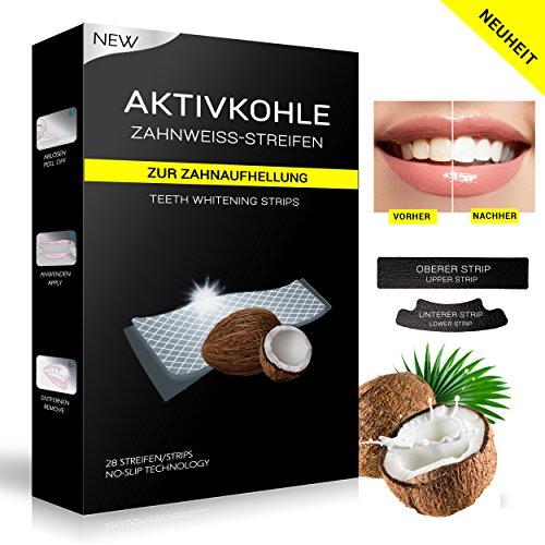 Kokosnuss Aktivkohle Zahnweißstreifen | Einführungsagebot | Whitestrips | 28 Bleaching Strips | Activated Charcoal Strips | peroxidfrei