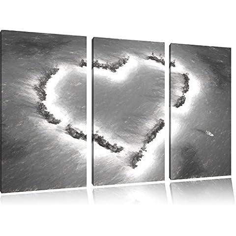 Cuore a forma di immagini Isole carbone effetto disegno 3 pezzi tela di canapa 120x80 di su tela, XXL enormi immagini completamente Pagina con la barella, stampe d'arte sul murale cornice gänstiger come la pittura o un dipinto ad olio, non un manifesto o un banner,