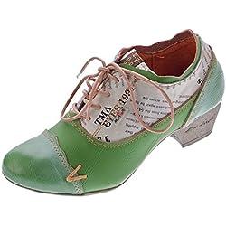 TMA Damen Comfort Schnür Pumps Grün Echtleder Trichterabsatz TMA 6161 Leder Schuhe Gr. 40