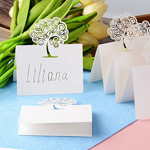 Mejoser 50 pezzi segnaposto da tavolo perlato avorio beige cartellini cartoncino bigliettino carta albero della vita decorazione matrimonio battesimo comunione festa compleanno