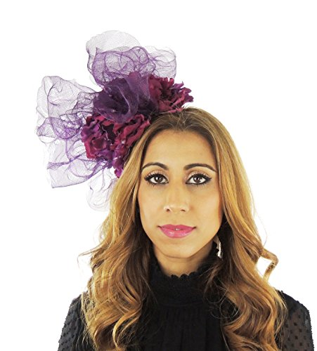 Superbe feridhoo Grande Fleur Ascot Derby Bibi Chapeau–avec bandeau Violet - Prune