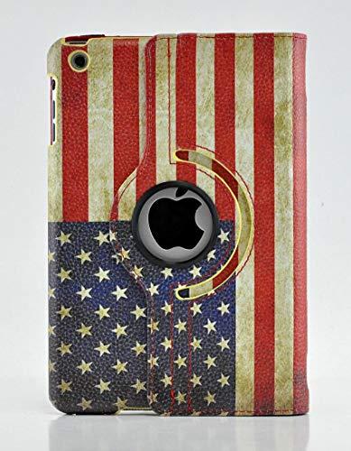 Schutzhülle für iPad Mini, Vintage-Design mit USA-Flagge und britischer Flagge, 360 Grad drehbar, mit automatischer Sleep-/Wake-Funktion Mehrfarbig usa-Flagge iPad Mini 4 -