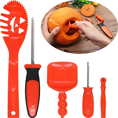 Hallween Pumpkin Carving Kit, 5 Halloween carving Tools and 14 Halloween Stencils Pumpkin - Einen Schnitzen Halloween Für Kürbis-gesicht