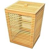 Papierkorb mit Deckel H 32cm aus Bambus