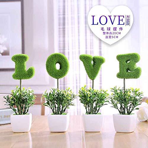 QZHE Gefälschte Blume Simulation Pflanzen Kleine Topf gefälschte Blume Kleine Baum Gras Ball Bonsai Hause Wohnzimmer Desktop Dekoration Ornamente Ornamente, E
