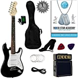 Stretton Payne 7/8 Size Junior Electric Guitar Package with Amplifier, Padded Bag, Strap, Lead, Plectrums, Tuner, Spare Strings and Online Guitar Lessons. Guitar in Black