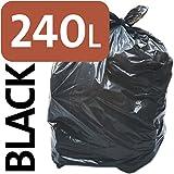 Alina, sacchetto nero, resistente, da 240 litri per bidone della spazzatura con ruote, sacco compattatore di rifiuti ENSA, sacco di plastica per rifiuti pesanti, 3 sacks