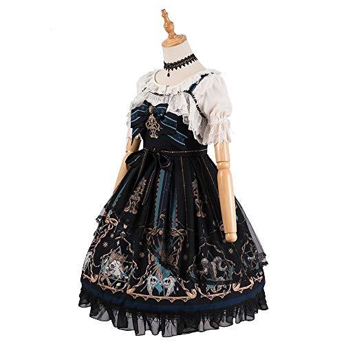 Gemacht Kostüm - QAQBDBCKL Lolita Prinzessin Kleid Sammlung Mädchen Kostüm Gemacht Kawaii Prinzessin Rock Gothic Kleider Medieval Schwarz Kleid