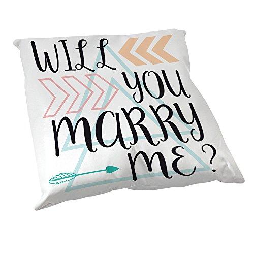 Coussin Décoration Demande en Mariage : Will you marry me ? / Veux tu m'épouser ? Motif Aztèque pastel - Fabriqué en France - Chamalow Shop