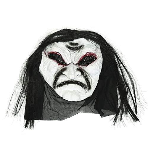 ZX Horror Maske Scary Zombie Tricky Gesicht Spielzeug Halloween Make-Up Party Prom Dress Up Requisiten,Weiß,MJ
