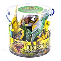 KandyToys 18 Piece Dinosaurs Play Set in Tub - Prehistoric Playset with Toy Dinosaurs and Play Mat